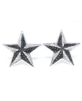 Black and White Diamond Star Earring in White Gold Finish