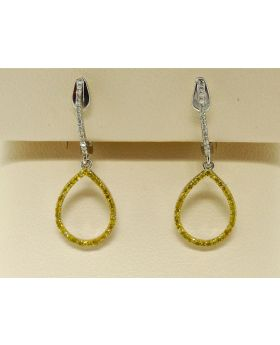 White and Yellow Diamond Hoop Dangle Earring in White Gold Finish
