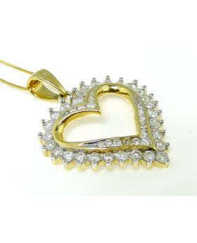 Heart Pendant with White Diamond set in 14K Yellow Gold