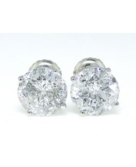 Solitaire Diamond Earrings in 14K White Gold (3.16ct)