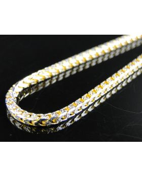 Yellow Gold Solid Franco Chain in Sterling Silver 2.0 mm