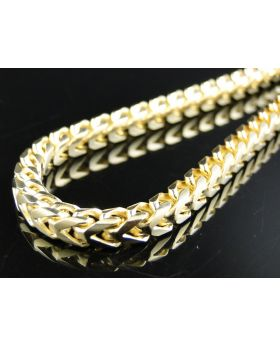 Yellow Gold Solid Franco Chain in Sterling Silver 5 mm