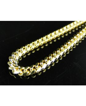Yellow Gold Miami Cuban Chain in Sterling Silver 4 mm