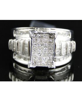 Princess Cut Diamond Engagement Ring in Sterling Silver (1.0 Ct)