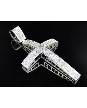 Fully Iced 10K White Gold Simulated Diamond Dome Cross Pendant