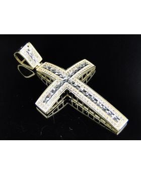 10K Yellow Gold Diamond Cut Simulated Diamond Cross