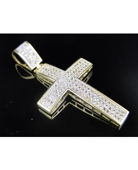 10K Yellow Gold Simulated Diamond Domed Cross Pendant
