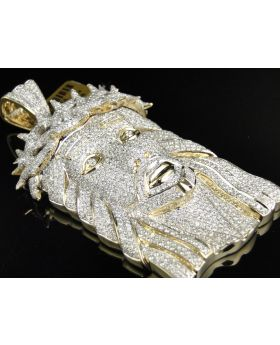 Fully Iced XL Jesus Pendant with with Genuine Diamonds 3.25 Inch