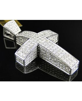 White Gold 3d Diamond Cross 2.0 Inch 6.5 Ct