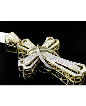 Pave Diamond Cross set in 10K Yellow Gold 3.0 Inches