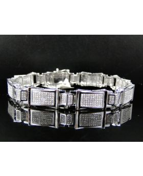 Pave Diamond 8 Inch Bracelet set in 10K White Gold