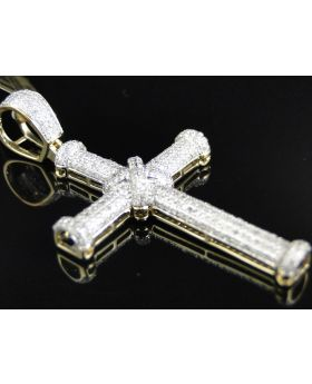 Yellow Gold Dome Cross with Pave Diamonds 2.25 Inch