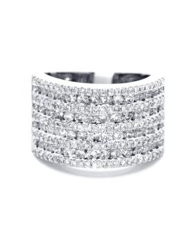 Round Cut XL 9 Row Diamond Band in 14K White Gold (2.04 Ct)