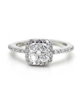 Square Shape Round Diamond Engagement Ring in 14K White Gold (1.06 Ct)