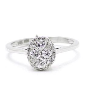 Oval Round Diamond Engagement Ring in 14K White Gold (0.50 Ct)
