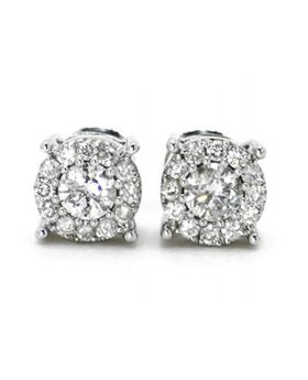Round Cut 6.5 MM Studs in 14K White Gold (0.75 Ct)