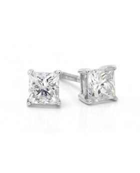 Princess Cut Solitaire Earrings in 14K White Gold (1.0 Ct)
