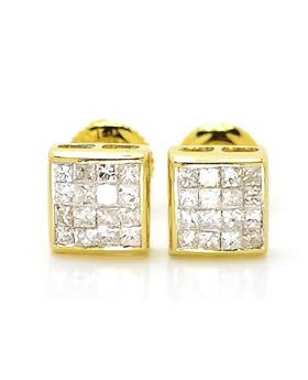 Princess Cut 6 MM Studs in 14k Yellow Gold (.50 Ct)
