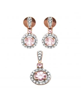 10K Rose Gold Halo Cluster Ladies Morganite Diamond Earrings Pendant Set