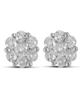 Mens Ladies 14k Yellow Gold Real Diamond Flower Cluster Stud Earrings 0.5 ct  5.35MM