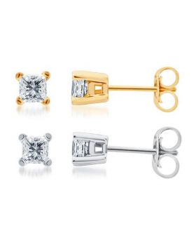 14k White or Yellow Gold Princess Solitaire Studs 1ct