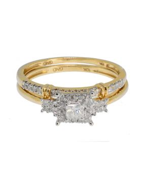 Princess and Solitaire Cut Diamond Wedding Bridal Ring Set in 10K Yellow