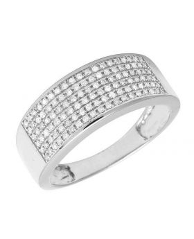 Men's 6 Row Pave Diamond Band Ring 10k White Gold .85 ct 9MM