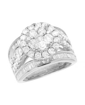 10K White Gold Diamond Cluster Baguette Engagement Wedding Ring 3 Ct 13MM
