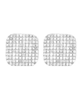 Men's Ladies 10K White Gold Genuine Diamond Square Stud Earring 1/2 Ct 8MM