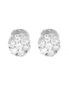 Ladies 10k White Gold Genuine Round Diamonds Flower Stud Earrings 1/2 ct  6MM