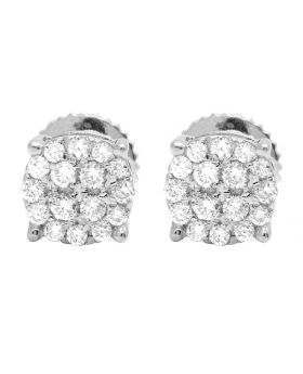 Ladies 10K White Gold Round Pave Diamond Studs Earrings 2/5 Ct 6MM