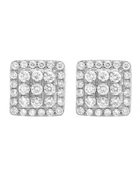 14K White Gold Full Cut Real Diamond 11MM Square Halo Stud Earring 1 1/2 ct