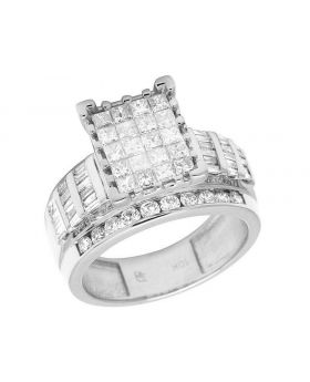 10K White Gold Baguette Princess Diamond Engagement Ring 2 Ct 12MM