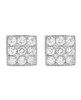 14K White Gold Three Rows Square Round Cut Genuine Diamond Stud Earrings 8MM