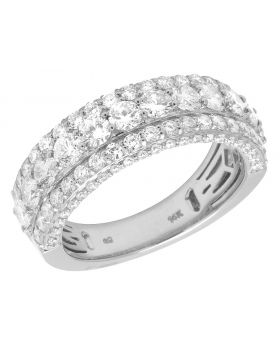 14K White Gold Three Row Diamond Band Ring 3.5Ct 8mm