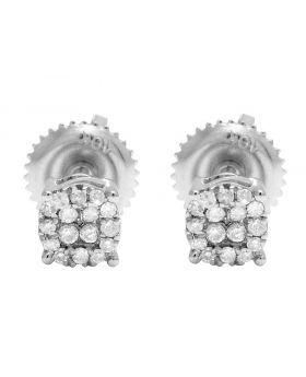 10K White Gold Real Diamond Halo Earring Studs 4MM 0.12 CT