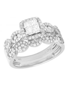 14K White Gold Princess Cut Diamond Square Halo Wedding Ring Set 1 Ct