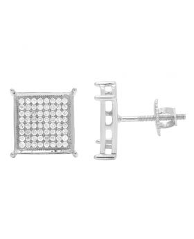 10K White Gold Pave 4 Prong 10mm Square Diamond Earrings .60CT