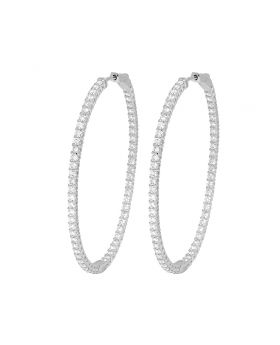 "14K White Gold Inside-Out Diamond Hoop Earrings 2.1"" 4.75CT"