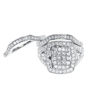 14k White Gold Princess Diamond 3 Pc Bridal Ring Set (1.50 ct)