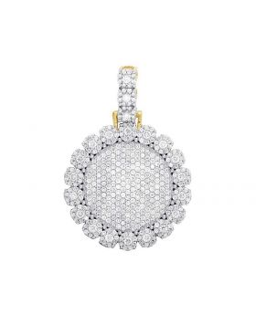 Solid 10K Yellow Gold Diamond Cluster Medallion Pendant 3.15 Ct 1.5""