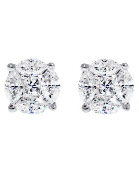 Marquise Princess Diamond Aleena Studs Earrings in 14k White Gold