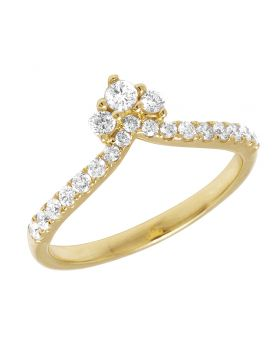 14K Yellow Gold Ladies Pointed Promise Ring 0.40CT