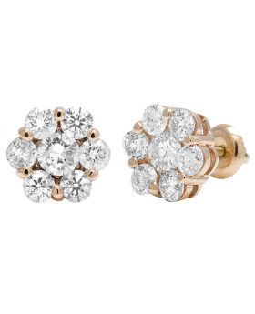 14K Rose Gold Round Flower Cluster Diamond Stud Earrings 4CT 10mm