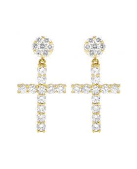 Ladies 10K Yellow Gold Real Diamond Flower Cluster Cross Dangle Earring 28MM 2.25CT