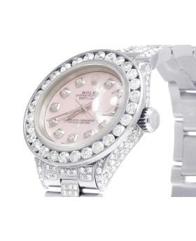 Ladies Rolex Datejust 26MM Pink MOP Dial Diamond Watch (10.5 Ct)