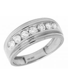 10K White Gold Real Diamonds Men's One Row Wedding Band Ring 0.75ct