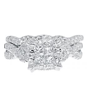 White Gold Quad princess Diamond Bridal Set with Twisting Shank (1.26 ct)