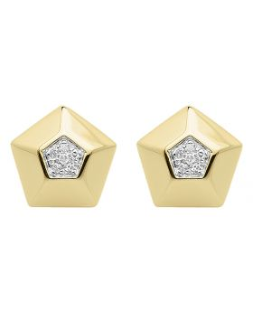 10k Yellow Gold 10mm Pentagon Diamond Studs (0.10 ct)