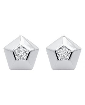 10k White Gold 10mm Pentagon Diamond Studs (0.07 ct)